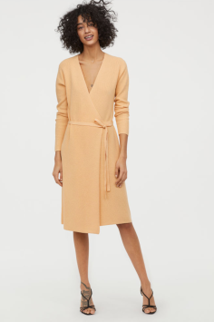 H&M Conscious Ribbed Wrap-front Dress